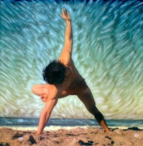 Robert Sturman artwork of Brian aganad on the beach doing yoga