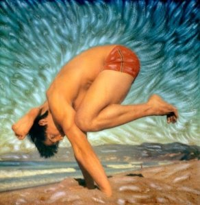 Art by Robert Sturman of Brian aganad on the beach doing yoga