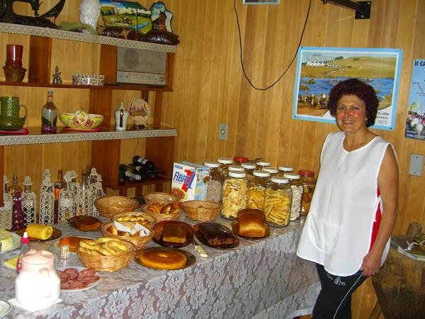 Our hostess with the mostess Vera at the ranch after making us breakfast