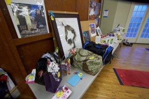 Raffle items at the Operation Shanti Yoga Fundraiser Event