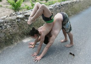Dice lida-Klein and Briohny Smyth doing partner yoga